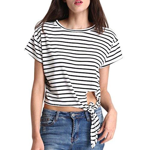 Damen Tops, FEITONG Frauen Tops Kurze Ärmel Bowknot Casual Bluse Tank  T-Shirt Weiß
