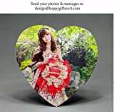 Personalized Jigsaw Puzzle Heart Shape With Your Photo & Message or Cartoon Character