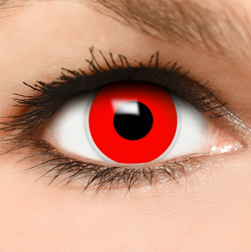 Farbige Kontaktlinsen Red Zombie in rot + Behälter - Top Linsenfinder Markenqualität, 1Paar (2 Stück)