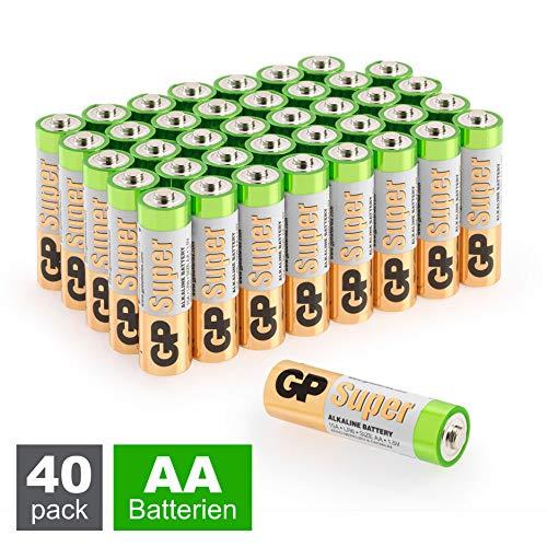 GP Batterien AA (Mignon, LR6) 1.5V, 40 Stück Vorratspack, Super Alkaline Longlife Technologie,  40 Stück