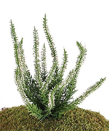 artplants Set 12 x Künstliche Erika IMKE auf Steckstab, Creme, 25 cm, Ø 18 cm – 12 Stück Heidekraut künstlich/Kunstpflanze