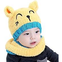 bebé sombrero y bufandas, Kfnire otoño invierno niños niñas lana punto gorras y bufanda conjunto