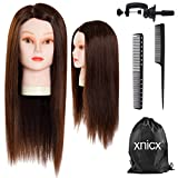 xnicx 70% Professional Real Hair 22 Inch Hairdressing Training Head Mannequin Head Hairdresser Training Head Mannequin Head With Clamp Stand For College and Professional Use