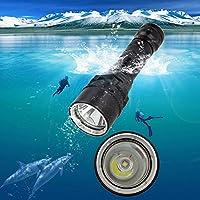 NIANPU 1000 Lumen Plongée sous-marine Lampe de poche rechargeable lampe torche 150 mètres submersibles Lumières avec 1x 18650 Batterie et Chargeur