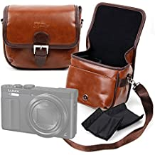DURAGADGET Bolsa profesional marrón con compartimentos para Panasonic Lumix DMC-TZ70EB-K | Lumix DMC-LX10 | Lumix DMC-LX15 | Lumix DMC-ZS100 | Lumix DMC-ZS60/TZ60 | Lumix TZ100/SZ100 | Lumix T .Tamaño mediano.
