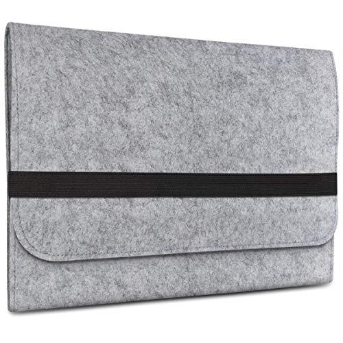 eFabrik Tasche für Microsoft Surface Book 2 / Microsoft Surface Book (13,5 Zoll) Schutz Filz Hülle Sleeve hellgrau - Asymmetrische Tasche