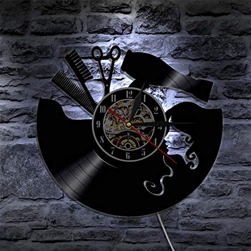 Mddjj Peine De Tijeras Secador De Pelo Salón De Belleza Reloj De Pared Peluquería Disco De Vinilo Reloj Vintage Pared De Peluquero Muestra del Corte De Pelo Arte De La Pared Regalo