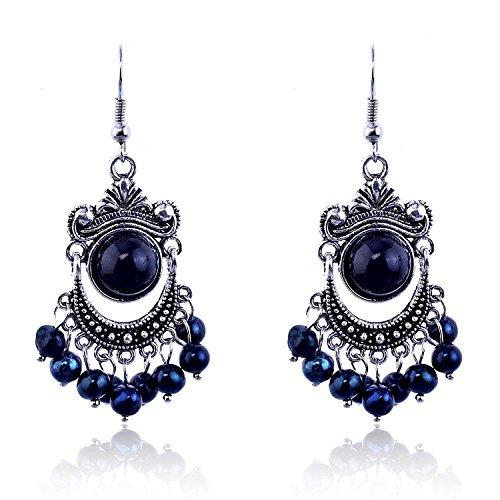 Lureme textured nero eye piccolo gufo head cristallo accent argento tone stud orecchini for women 02002064-1+