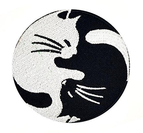 YIN YANG Katze Balance Yin und Yoga Symbol Hippie Patch   Stickerei Hohe Qualität Eisen auf Sew auf Patch Abzeichen für Kleidung Jacken T-Shirts Mäntel Taschen Hüte Geldbeutel