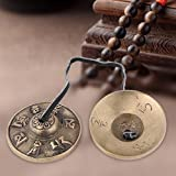 Gadgetzone® tradizionale ottone buddista finger Cymbals campane, campana tibetana buddista Religious Musical apparecchi, 65mm yoga meditazione Tingsha campana carillon e piatti