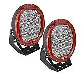 Auxtings 22,9 cm 96 W tondo Red spot LED work Light bar off Road Lights Fog driving roof bar bumper per fuoristrada SUV Boat lampada (rosso)