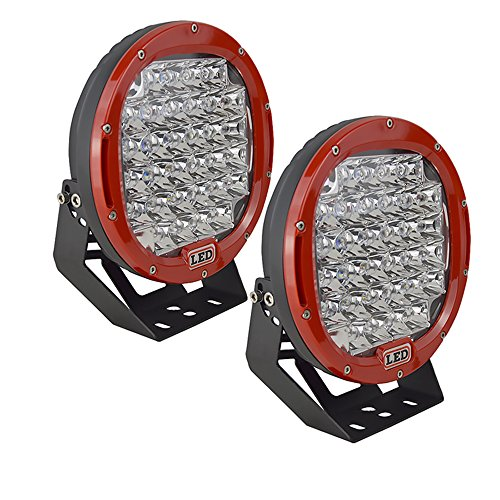 Auxtings 22,9cm 96W rot Spot Rund LED-Arbeitsleuchte Bar Off road Lights Nebel Fahren Dach Bar Bumper für Off Road SUV Boot Lampe (rot) (Bumper Boote)