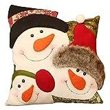 Funda de almohada de Navidad wendaby Christmas Series Funda de cojín Funda de almohada Patrón de combinación de muñeco de nieve de Navidad Funda de cojín Funda de cojín cuadrado para sofá,...