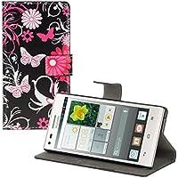 kwmobile Funda para Huawei Ascend P7 Mini - Wallet Case plegable de cuero sintético - Cover con tapa tarjetero y soporte Diseño mariposa en rosa fucsia rosa claro negro