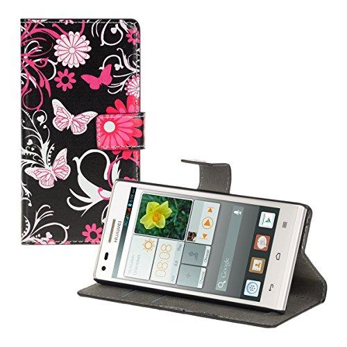 kwmobile Huawei Ascend P7 Mini Hülle - Kunstleder Wallet Case für Huawei Ascend P7 Mini mit Kartenfächern und Stand