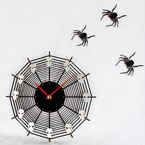 ise Wanduhr Quarzwerk Für Wohnzimmer Kunst Dekoration Schwarz Geschenke 30 Cm (Spinnennetze Dekorationen)