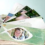 Danksagungen Kommunion, Fisch im Wasser 200 Karten, Kartenfächer 210x80 inkl. weiße Umschläge, Grün