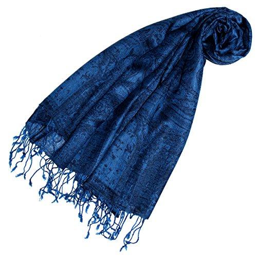 LORENZO CANA - Pashmina Damen Schal Schaltuch hochertig kuschelweich und leicht Damenschal Stola 70 x 180 cm opulentes Paisley Muster aufwändig gewebt 78147 (Italienischer Seide Schal)