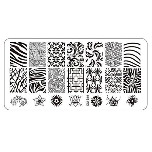 Oyedens Placa que estampa la impresora de uñas-Del Arte Del Clavo Que Estampa Imagen Placas Plantilla Sello Herramienta De La Manicura Plantilla De Bricolaje (G)