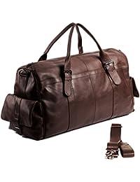 FEYNSINN sac de voyage ASHTON - besace weekend - fourretout marron en cuir véritable (60 x 35 x 18 cm)