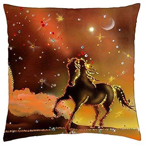 iRocket - Golden Horse - Throw Pillow Cover (24