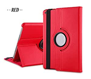 TGK® 360 Degree Rotating Leather Smart Case Cover Stand (Auto Sleep/Wake Function) for Apple iPad Mini 2, Mini 3 (7.9 inch) A1489, A1601, A1490, A1491, A1599, A1600 (Red)