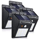 Luci solari led di 20 LED PIR 6000K Bianco, led Solare Wireless ad Energia Solare da Esterno con Sensore di Movimento giardino, parete, scale, muro, cortile, patio,4 Pezzo