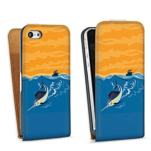 Apple iPhone 5 Housse étui coque protection Espadon Pêche Poisson Sac Downflip blanc