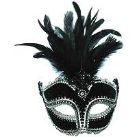 Black Velvet Mask/ Tall Feather On Band