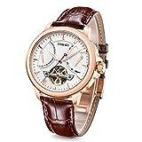 Time100 W70035G. 02 A nuevo reloj de hombre pulsera de piel marrón Reloj mecánico automático con fecha Rose Gold 5 Bar resistente al agua Analog