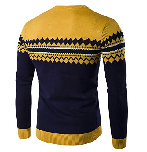 WSLCN Herren Sweatshirt gemustert Kontrastfarbe Gelb / Dunkelblau