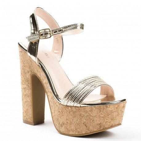Ideal Shoes - Sandales vernies avec plateforme en liège Alana Doree
