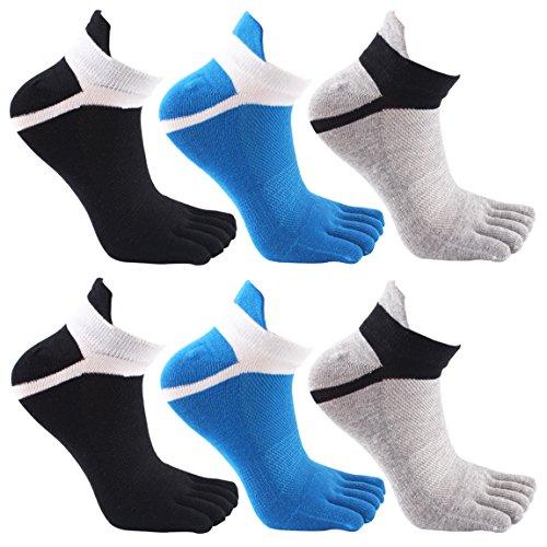 Socken herren 6 Paar Männer Baumwolle Sport Moderate Elastisch Zehensocken Sportsocken (Spandex-stretch-zehen-socken)