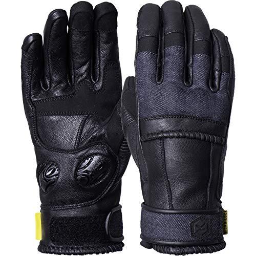 1012559090030 - Knox Whip Ladies Leather Motorcycle Gloves M Black Denim
