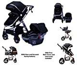 TomiKid Black Travel System 3 in 1 Combi Stroller Buggy Baby Child Pushchair