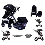 TomiKid Black Travel System 3 in 1 Combi Stroller Buggy Baby Child Pushchair (car seat Included) Reverse or Forward Facing Rain Cover Mosquito Net Bottle Holder Foldable Free Replacement Parts