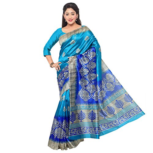 Vaamsi Women\'s Mysore Art Silk Saree with Blouse Piece(MS1001_Blue_Free Size)