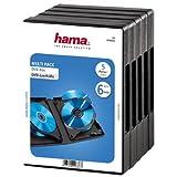 Hama DVD-Hüllen für 6 DVDs (auch passend für CDs und Blu-rays, mit Folie zum Einstecken des Covers) 5er-Pack, schwarz