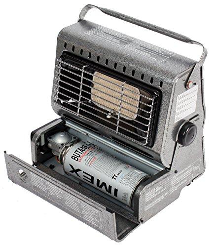 Chauffage de terrasse 1,3 kW pour camping - Chauffe-terrasse en acier inoxydable - Radiateur au gaz - Parasol chauffant