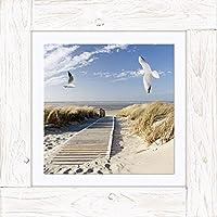 Artland quadro su tela di immagine in cornice di legno vintage Canvas finito su tavola in fibra di legno EVA motivi Uomo nords eest bordo su Langeoog con Gabbiani paesaggi spiaggia fotografie Blu 50,4x 50,4x 1,7cm