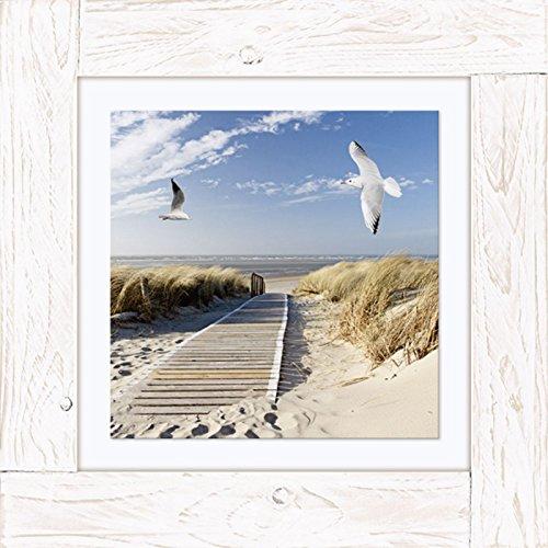 Imágenes Vintage de madera lienzo cuadro de madera en el mar Eva Gruendemann Artland marco: playa del Mar del Norte en Langeoog con diseño de tamaño: 50,4 x 50,4 cm tamaño en tienda dealer asi que largo!