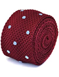 Frederick Thomas maroon and light blue polka spot knitted tie