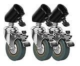 Jinbei 3er Set C-25 Stativrollen für Lampenstative mit max. 25 mm Beindurchmesser - verwandelt fast jedes Studiostativ in ein professionelles Rollstativ