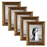 5er Set Bilderrahmen 10x15 cm Gold Barock Antik Massivholz mit Glasscheibe und Zubehör / Fotorahmen / Barock-Rahmen