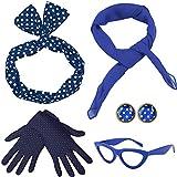 Coucoland 50er Jahre Rockabilly Kostüm Accessoires Damen 1950s Zubehör Set Inklusive Polka Dots Bandana Haarband Ohrringe Handschuhe Katzenaugen Sonnenbrille Chiffon Schal (Blau)
