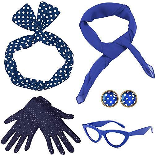 Coucoland 50er Jahre Rockabilly Kostüm Accessoires Damen 1950s Zubehör Set Inklusive Polka Dots Bandana Haarband Ohrringe Handschuhe Katzenaugen Sonnenbrille Chiffon Schal ()