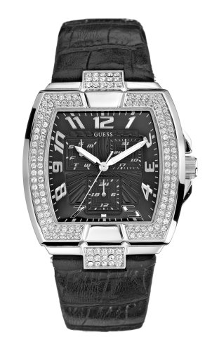 Guess Unisex Black Croco Leather Strap Watch, With Stone Set Square Silver Case
