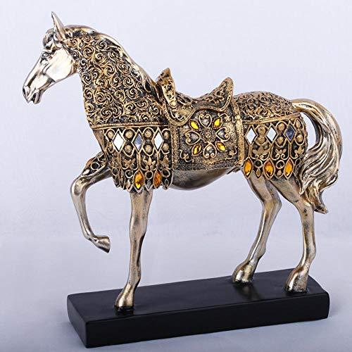 Ludage Wohnaccessoires Handwerk, Harz-Handwerk Pferd Hauptdekoration Goldschmuck Kreatives Geschenk 28 * 8 * 28,5 cm