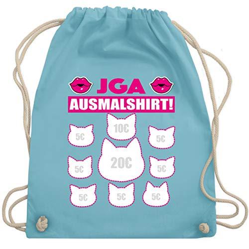 bschied - JGA Ausmalshirt Katzen - Unisize - Hellblau - WM110 - Turnbeutel & Gym Bag ()