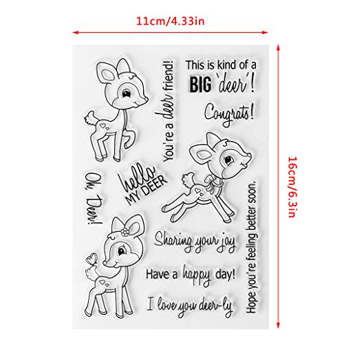 ECMQS Deer DIY Transparente Briefmarke, Silikon Stempel Set, Clear Stamps, Schneiden Schablonen, Bastelei Scrapbooking-Werkzeug